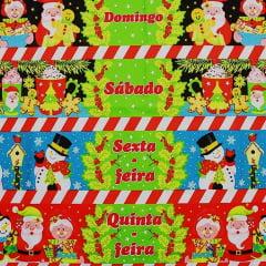 Tecido Tricoline Barrados Semaninha Feliz Natal - Preço de 60 cm X 150 cm