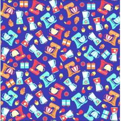Tecido Tricoline Batedeiras Cozinha - Fundo Azul Royal - Preço de 50 cm x 150 cm