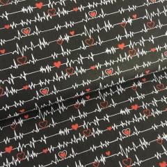Tecido Tricoline Batimentos Cardíacos - Fundo Preto - Coleção Medicina - Preço de 45 cm x 150 cm