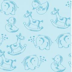 Tecido Tricoline Bichinhos - Fundo Azul Bebê - Coleção Basics Baby