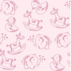 Tecido Tricoline Bichinhos - Fundo Rosa Bebê - Coleção Basics Baby