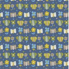 Tecido Tricoline Blue Butterflay - Fundo Azul Oceano