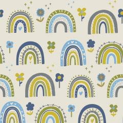 Tecido Tricoline Blue Flower Rainbow - Fundo Branco