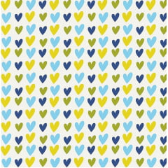 Tecido Tricoline Blue Hearts - Fundo Branco