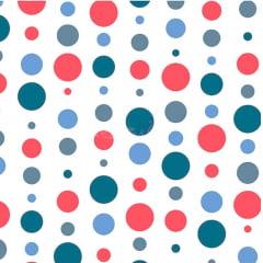 Tecido Tricoline Bolas Coloridas - Vermelho com Marinho - Fundo Branco