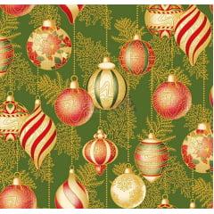Tecido Tricoline Bolas de Natal - Fundo Verde - Coleção Natal Gold