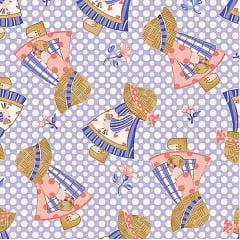 Tecido Tricoline Boneca Sunbonnet Azul/ Rosê -  Coleção Camponesas - Fundo Azul - Preço de 50 cm x 150 cm