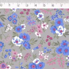 Tecido Tricoline Bouquet de Flores - Fundo Cinza - Coleção Fiori