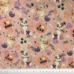 Tecido Tricoline Cachorro e Gatos - Fundo Rosa Claro