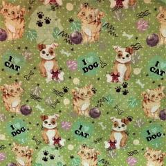 Tecido Tricoline Cachorro e Gatos - Fundo Verde