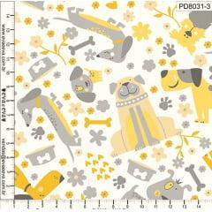 Tecido Tricoline Cachorros Amarelo e Cinza - Fundo Branco - Coleção Pet Dog