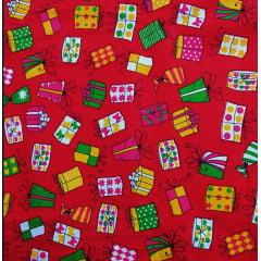 Tecido Tricoline Caixinhas de Presentes de Natal - Fundo Vermelho - Preço de 50 cm x 150 cm