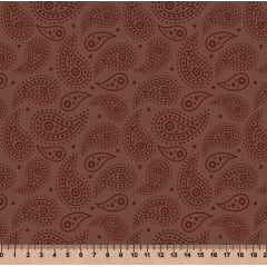 Tecido Tricoline Cashmere - Fundo Marrom Chocolate - Preço de 50 cm x 150 cm