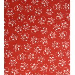 Tecido Tricoline Caveira - Fundo Vermelho Alaranjado