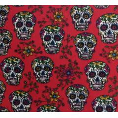 Tecido Tricoline Caveira Mexicana - Fundo Vermelho - Preço de 50 cm X 150 cm