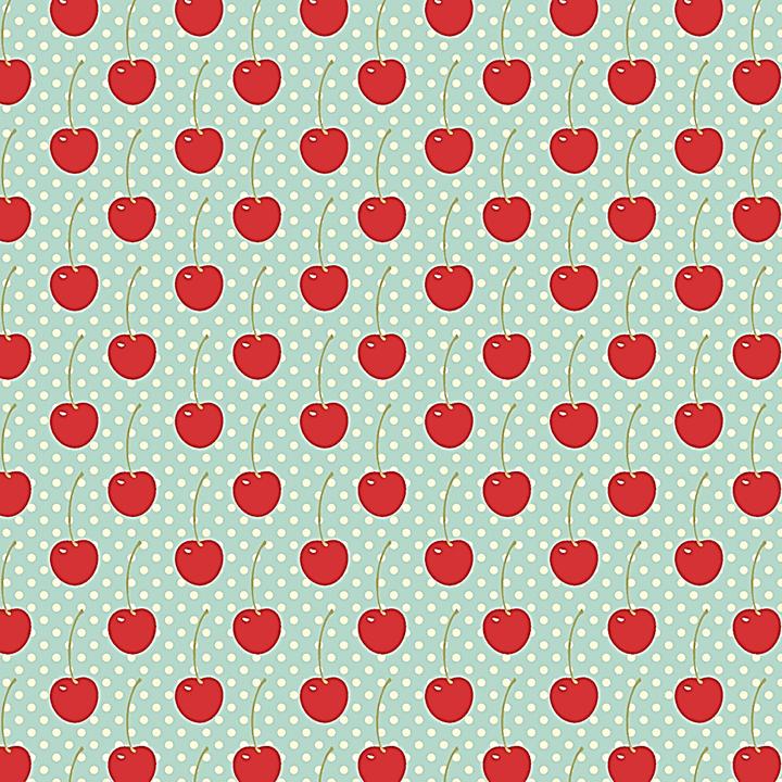 Tecido Tricoline Cerejinhas c/ Poá Branco - Fundo Azul Bebê - Coleção Cherry Acqua