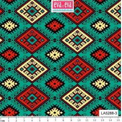 Tecido Tricoline Coleção Los Andes - Fundo Verde Esmeralda