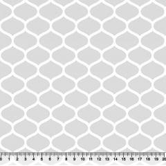 Tecido Tricoline Colmeia - Fundo Cinza - Preço de 50 cm x 150 cm