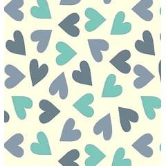 Tecido Tricoline Coração Azul Marinho, Azul Jeans e Tiffany - Fundo Creme