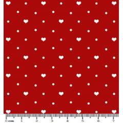 Tecido Tricoline Coração - Fundo Vermelho com Poá