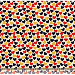 Tecido Tricoline Corações Marinho, Vermelho e Dourado - Fundo Creme - Preço de 50 cm X 150 cm