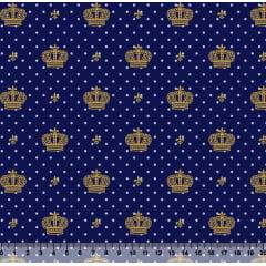 Tecido Tricoline Coroa Dourada com Poá Azul Claro - Fundo Azul Marinho - Preço de 50 cm x 150