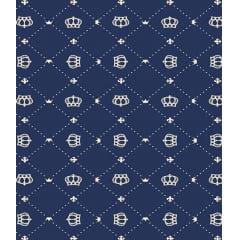 Tecido Tricoline Coroa - Fundo Azul Marinho