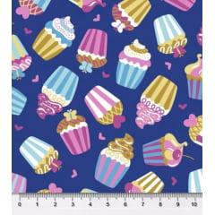 Tecido Tricoline Cupcakes - Fundo Azul