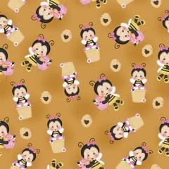 Tecido Tricoline Digital de Abelhinha - Fundo Caramelo - Preço de 50 cm x 150 cm