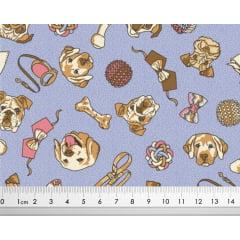 Tecido Tricoline de Acessórios Pet de Cachorro- Fundo Lilás - Preço de 50 cm x 150 cm