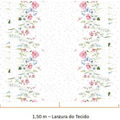 Tecido Tricoline de Barrados Floral Papoula Rosa - Fundo Branco - Coleção Floratta