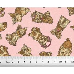 Tecido Tricoline de Cachorro Yorkshire - Fundo Rosa
