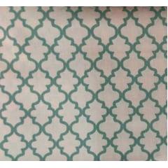 Tecido Tricoline Delicato Treliça Cinza - Fundo Rosa  - Preço de 50cm x 150cm