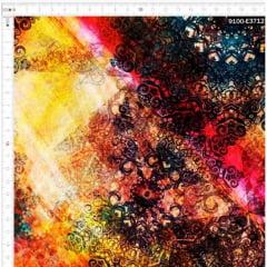 Tecido Tricoline Digital Aziza - Fundo Colorido