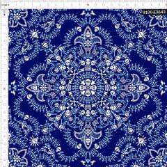 Tecido Tricoline Digital Bandana Caveiras - Fundo Azul Marinho