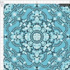 Tecido Tricoline Digital Bandana Caveiras - Fundo Azul Piscina