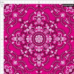 Tecido Tricoline Digital Bandana Caveiras - Fundo Rosa
