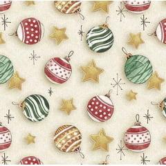 Tecido Tricoline Digital Bolas Natalinas - Coleção de Natal - Fundo Creme