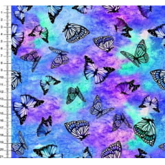 Tecido Tricoline Digital Borboletas Aurora Boreal