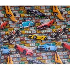 Tecido Tricoline Digital Carros e Placas - Preço de 50cm x 150cm
