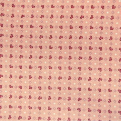 Tecido Tricoline Digital Coração - Fundo Rosê - Preço de 50 cm x 150 cm