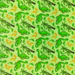 Tecido Tricoline Digital Dinossauro - Fundo Verde Claro