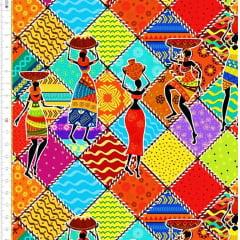 Tecido Tricoline Digital Estampado Africanas - Fundo Colorido