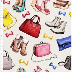 Tecido Tricoline Digital Estampado Bolsas e Sapatos - Fundo Cinza