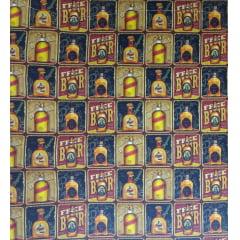 Tecido Tricoline Digital Estampado Garrafas de Bebidas em Quadros - Preço de 50 cm x 150 cm