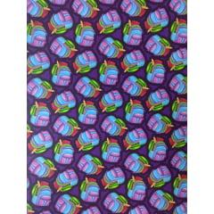 Tecido Tricoline Digital Estampado Mochilas Coloridas - Fundo Roxo - Preço de 50 cm x 150 cm