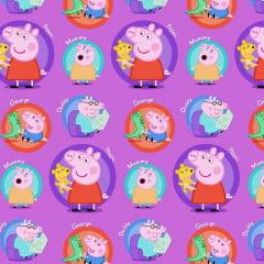 Tecido Tricoline Digital Família da Peppa Pig - Fundo Lilás - Preço de 50 cm x 150 cm