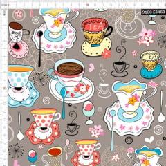 Tecido Tricoline Digital Festa do Chá - Fundo Cinza