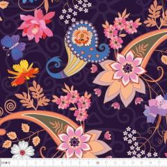 Tecido Tricoline Digital Floral Arabesco - Fundo Roxo - Preço de 50 cm x 150 cm