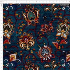 Tecido Tricoline Digital Floral Azul Petróleo Hanna